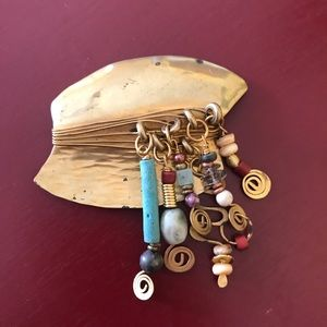 Vintage eclectic gold tone pin w dangling beads